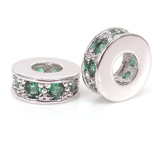 Silver Emerald Small Spacers