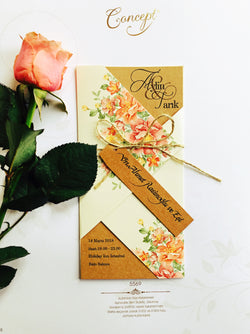 Floral kraft brown wedding invitation.
