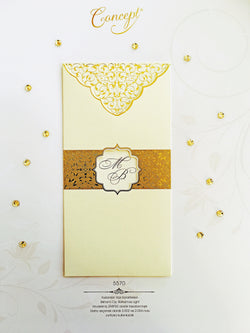 Golden and ivory asian style  wedding invitation.