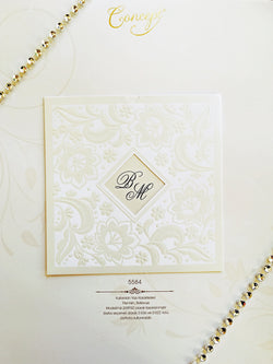 White elegant pocket type wedding invitation.