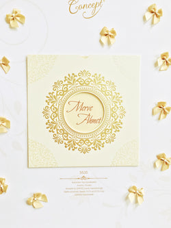 Elegant, pocket style, ivory and gold wedding invitation.