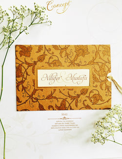 Floral brown kraft wedding invitation.
