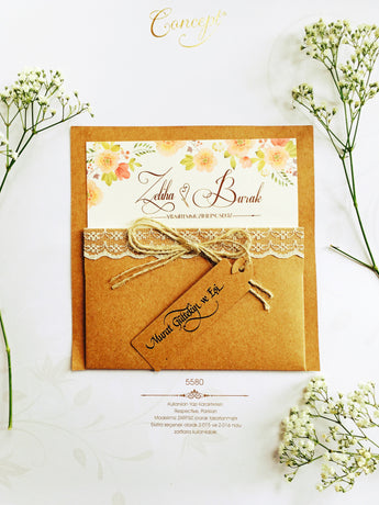 Hessian and lace floral wedding invitation.