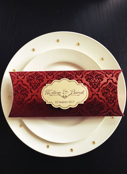 Stunning burgundy red velvet wedding invitation box style.