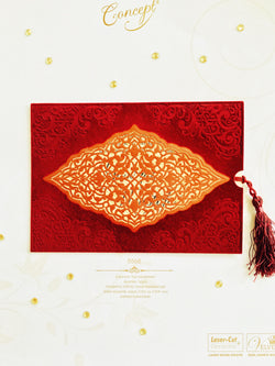 Burgundy red velvet laser cut wedding invitation with tassel.