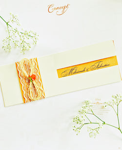 Elegant hessian and lace style wedding invitation.