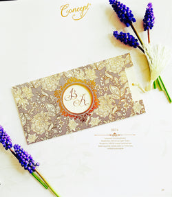 Purple wedding invitation with tassel.
