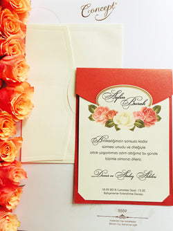 Red and ivory floral wedding invitation.