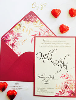 Floral red wedding invitation.