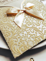 Best selling stunning velvet wedding invitation with ribbon.
