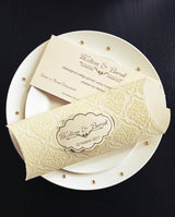 Stunning ivory and gold velvet personalised wedding invitation.