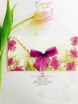 Floral purple personalised wedding invitation.