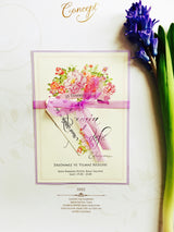 Floral purple wedding invitation.