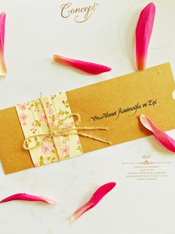 Floral pink and brown kraft personalised wedding invitation.