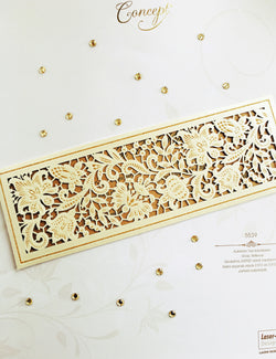 Elegant golden laser cut wedding invitation.