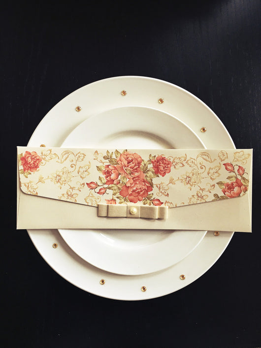 Stunning vintage wedding invitation with ribbon.