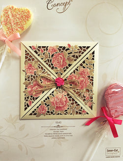Laser cut pink floral pocket style personalised wedding invitation.