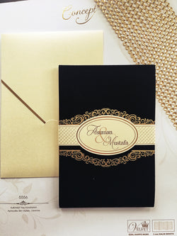 Luxury gold and black wedding invitation printed on 3mm board.