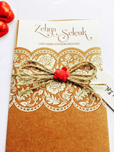essian and lace style brown kraft wedding invitation.