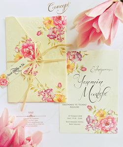 Pink floral wedding invitation.