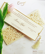Luxury laser cut wedding invitation printed on 3mm board with tassel.