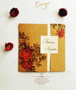 Floral red and brown wedding invitation.