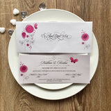 Pink very pretty  wedding invitation with flowers and butterfly.