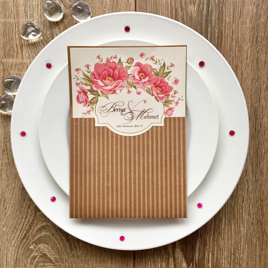 Stunning vintage floral pink wedding invitation.