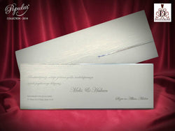 Stunning white and silver wedding invitation.