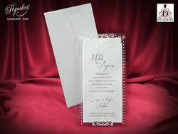 Beautiful white wedding invitation.