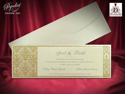 Beautiful ivory and gold wedding invitation.