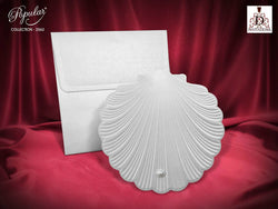 Stunning white and silver wedding invitation with pearl.