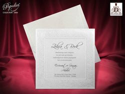 White elegant traditional wedding invitation.