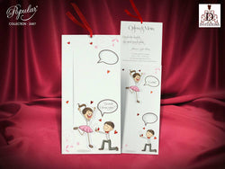 Cute and colourful wedding invitation.