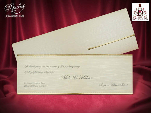 Golden lining elegant wedding invitation.