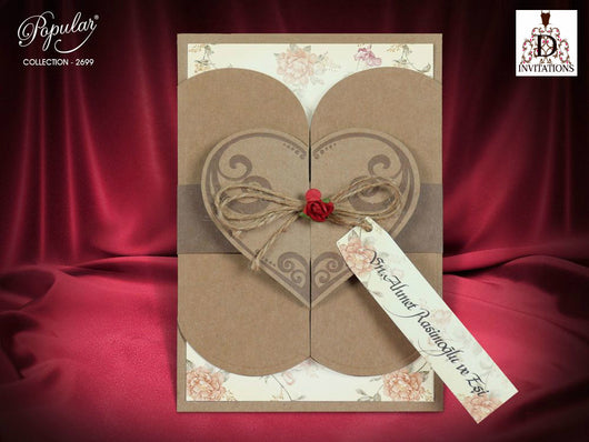 Best selling vintage floral heart-shaped wedding invitation.