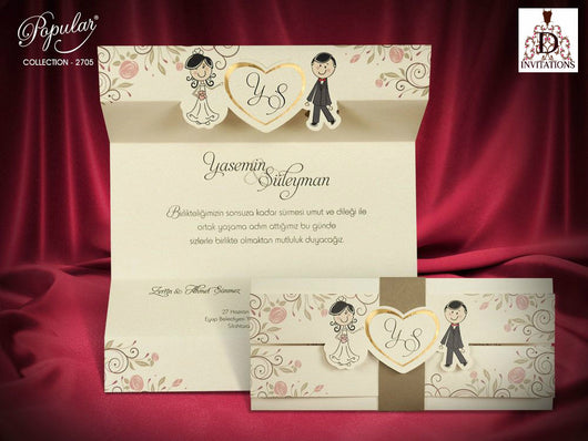 Cute folded wedding invitation.
