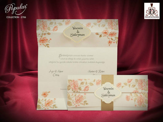 Vintage floral folded wedding invitation.