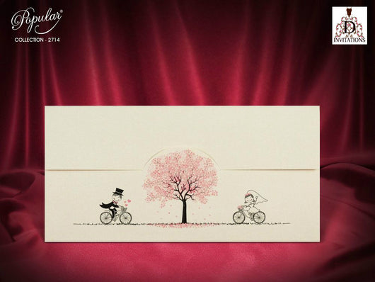 Beautiful pink wedding invitation.