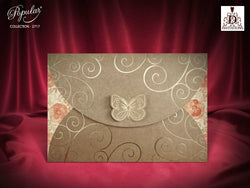 Beautiful vintage wedding invitation with buterfly.
