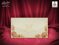 Vintage wedding invitation with buterfly.
