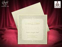 Stunning ivory and gold wedding invitation printed on luxury 3mm width board.