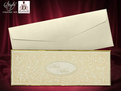 Stunning velvet ivory and gold wedding invitation printed on luxury 3mm wide board.