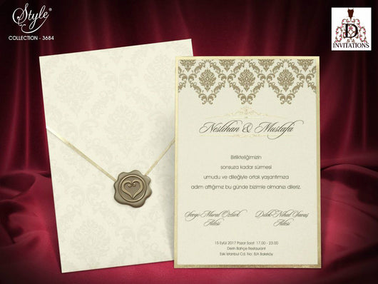 Stunning ivory and gold wedding invitation printed on luxury 3mm wide board.