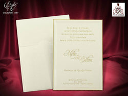 Stunning golden lining wedding invitation printed on luxury 3mm wide board.