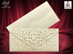 Luxury ivory/golden laser cut  wedding invitation .