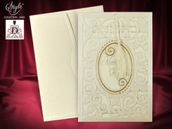 Luxury golden laser cut wedding invitation with tassel.