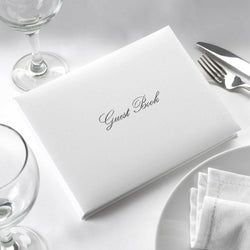 G003 White and Silver Guest Book