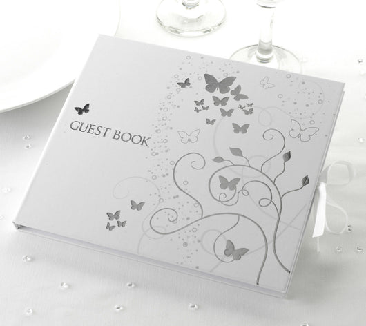 G012 Silver / White Butterfly Guest Book