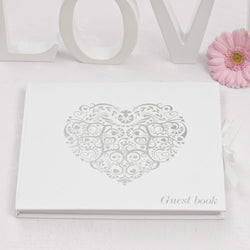 G013 Silver / White 'Vintage' Guest Book